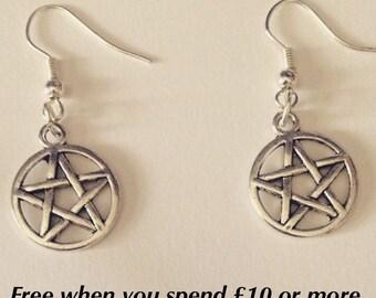 Pentagram Drop Earrings