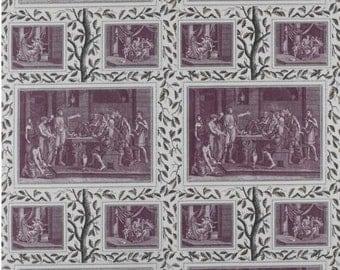 LEE JOFA KRAVET Ancient Greece Pictorial Toile Linen Fabric 10 Yards Purple