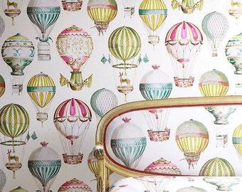 MANUEL CANOVAS Hot Air BALLOONS Toile Fabric 10 Yards Pink Green Multi
