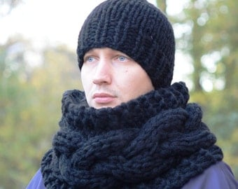 Chunky Scarf and Hat / Men's knitted cowl and hat / Infinity Scarf and Hat / Neck Warmer / Warm / Thick Yarn Scarf