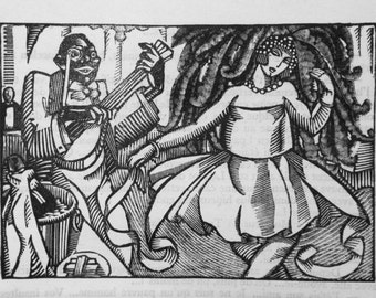 Guy Dollian wooden engraving / 'Play Jazz and dancer', 1,924