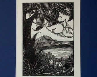 """Guy Dollian wooden engraving / """"Landscape at the edge of the sea"""", 1,924"""