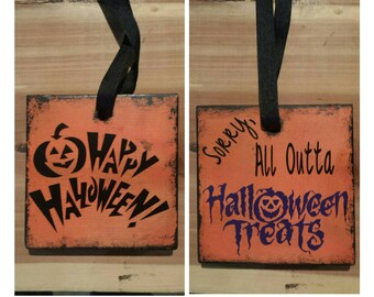 Reversible Out of Candy/Treats Halloween Signs (2 options)