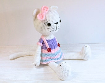PATTERN : Cat - Kitty - Amigurumi Cat pattern - Cat with a skirt - Crochet pattern-Stuffed animals- doll-toy-baby shower