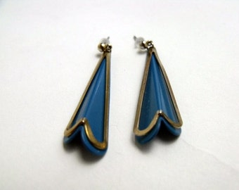 Blue Vintage Dangle Earrings, Vintage Drop Earrings, Vintage Stud Earrings, Blue Earrings, Jewelry, Earrings, Long Earrings, Vintage Jewelry