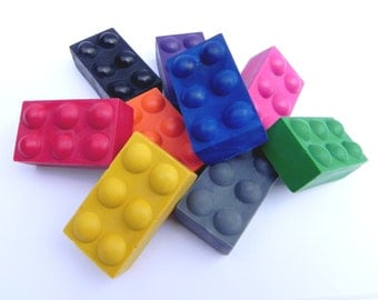 Building Brick Crayons | Set of 9 | Building Blocks | Party Favours | Birthday Gift | Construction | Novelty Crayons | Gifts for Children