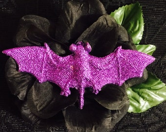 Hauntingly Lovely Vamp Noir Bat Floral Corsage Brooch Pin