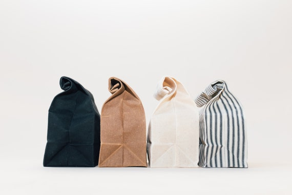 SET of 4 Waxed Canvas Lunch Bags // Waxed Canvas Lunch Bags