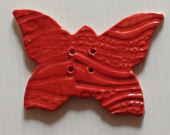 Scarlet Red Butterfly Button