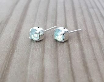 Mint Swarovski stud earrings, silver earrings, gift for her, bridesmaids gift