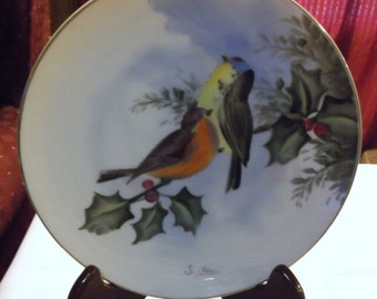 Vintage Leftoris Japan Birds on Berry Branch Plate