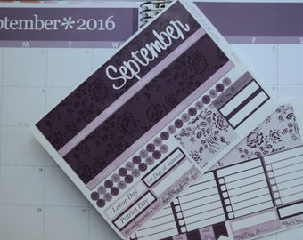 September Monthly Spread Kit Planner Stickers Removable Matte  or Glossy Stickers