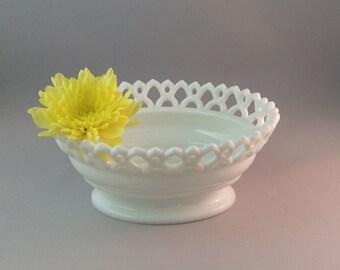 Vintage Westmoreland Milk Glass Open Lace Bowl, Doric Milk Glass Bowl