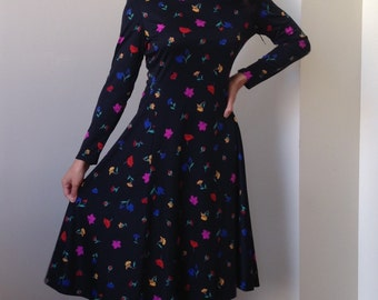 60s Umba for Parnes Feinstein Black Small Floral Print Midi Dress
