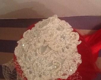 Beaded birdcage veil