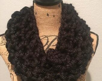 Crochet Chunky Black Cowl Scarf, Handmade