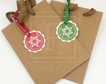 Set of 50, 75 & 100 Christmas Gift Bags With Personalized Tags, Holiday Gift Bags With Gift,  X-mas Gift Bags