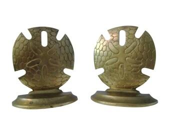 Brass Sand Dollar Bookends, Pair