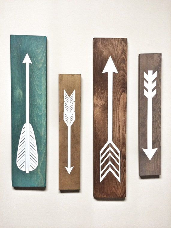 Rustic white wooden arrows 4 piece set rustic decor for Decoration murale one piece