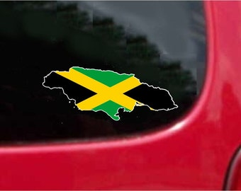 2 Pieces Jamaica Outline Map Flag Vinyl Decals Stickers Full Color/Weather Proof. U.S.A Free Shipping