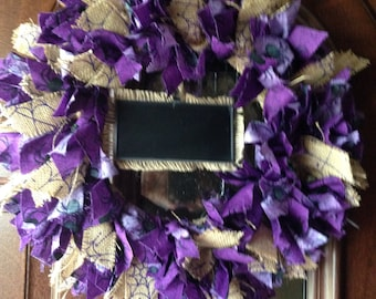 SALE! Handmade Halloween Rag Wreath