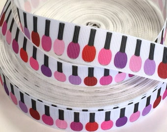 1 yard  7/8 inch Nail Polish on White - Polishes - Make up - Stylist - Beautician - Cosmetics Artist - Printed Grosgrain Ribbon for Hair Bow