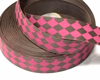 1 inch Hot Pink and Brown Diamond Pattern - ARGYLE   -  Printed Grosgrain Ribbon for Hair Bow