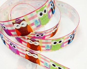 7/8 inch Party Owls on Light Colors Plaid Printed Grosgrain Ribbon for Hair Bow