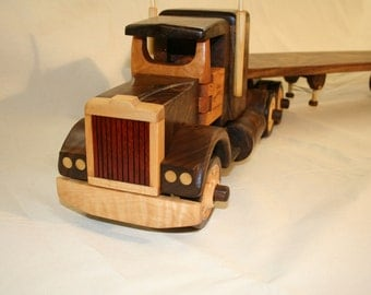 Semi Truck with Low Boy Trailer wood toys christmas gift