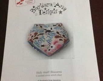 Holy mud! Biscornu Cross Stitch Chart - Barbara Ana Designs