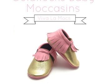 Goldilocks Pink and Gold Baby Moccasins