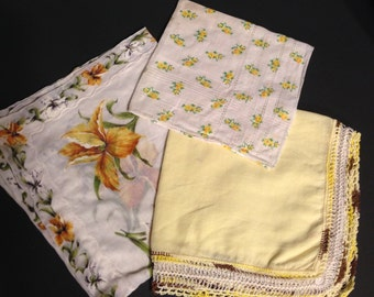 Vintage Yellow Handkerchief Set of 3 Floral Hankies Crocheted Trim Dainty From the 1950's Shabby and Cottage Chic Decor Baby Nursery
