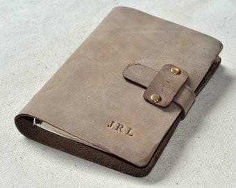 Refillable lined leather journal  Notebook good for gift (free stamp)
