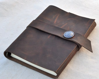 Handmade Unique Leather Personalized Journal Graduation Gift Notebook Blank Book  (Free stamp)