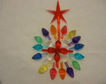 22 Extra Large Twist Bulbs &  Red Star VINTAGE Ceramic Christmas Tree Lights Pegs Replacements