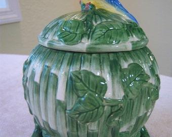 Tropical style decorative ceramic jar/Tropical bird with bamboo/Jay Willfred/Andrea of Sadak/Coastal decor/Tropical decor
