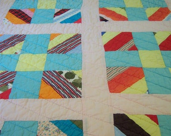 Antique hand stitched cotton quilt/Quilt with pink background/Bed & breakfast/Cottage chic/Shabby chic/Farmhouse decor