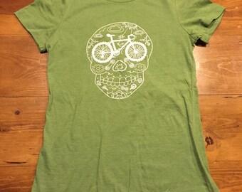 Women's mountain bike sugar skull day of the dead t shirt