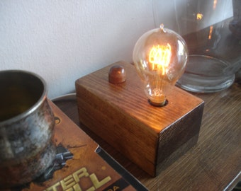 Stacked  pine table lamp with Edison style bulb and BUILT-IN DIMMER switch.