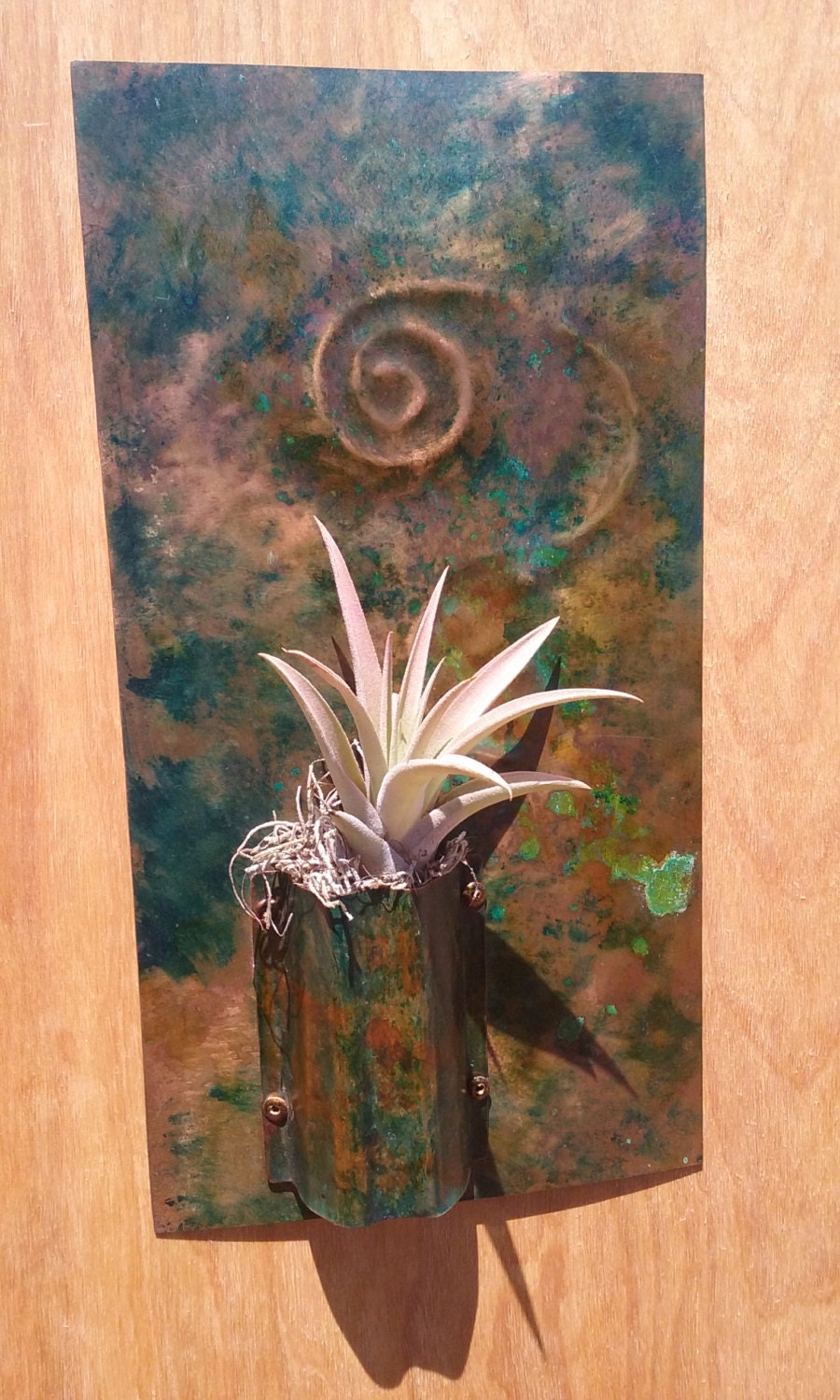Metal wall art copper sculpture air planter for Copper wall art