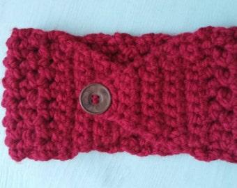 Handmade red ear warmer headband