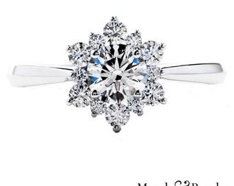 1.10 Ct. Brilliant Round Cut Diamond Starburst Halo Engagement Ring on 18K White Gold