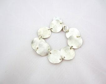 Bracelet with linked metal pieces- minimalist bracelet, linked metal bracelet, charm bracelet