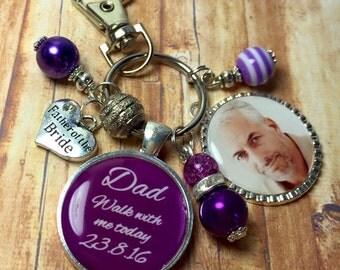 Father wedding keyring, Cadburys purple keyring, Father of Bride, memory photo keyring, wedding keepsakes, bouquet photo charm