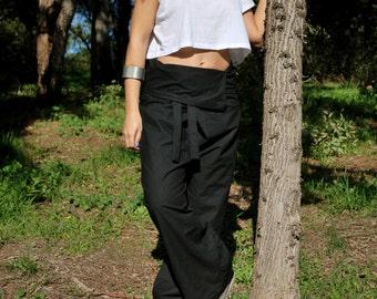 Handmade boho pants 100% Cotton black Fisherman pants Tai ji yoga pants Onesize cozy pants High quality fabric pants Massage pants