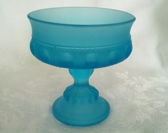 Compote / Candy Dish : Indiana Glass Blue Satin King's Crown Thumb Print Compote