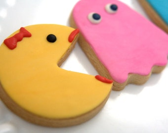 "1 Dozen Decorative 4"" Pac Man / Ms. Pac Man Character Cookies"