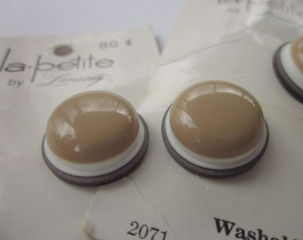 """10 Vintage 3/4"""" White and Brown Stacked Layers Plastic Buttons on 5 Cards"""