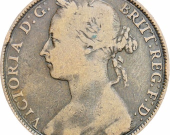 Great Britain Queen Victoria 1892 One Penny Bronze Coin
