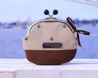 """Frame Coin Purse Handmade, """"Small Anchor Black/Beige"""", Cute little Coin Purse, Wallet"""